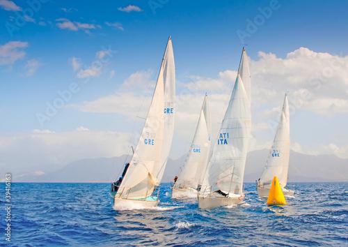 Obraz na płótnie J24 Sailing Regatta in Greece