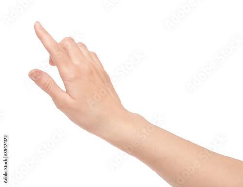 Leinwand Poster  Finger Touch virtuellen Bildschirm isoliert