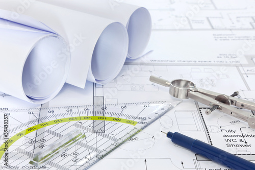 Fotografia, Obraz  Architectural plans with drawing equipment