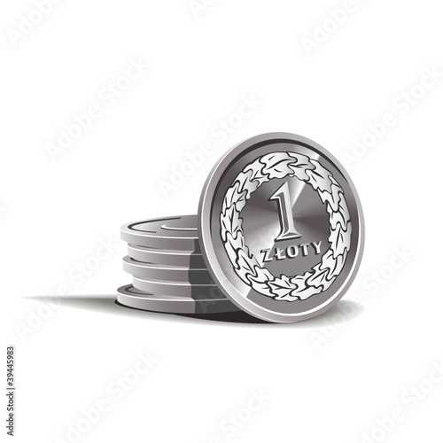 Fotografía  zloty coins vector illustration, financial theme