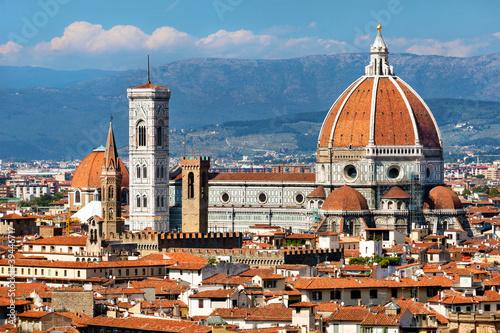 Aluminium Prints Florence rooftop view of Basilica di Santa Maria del Fiore in Florence