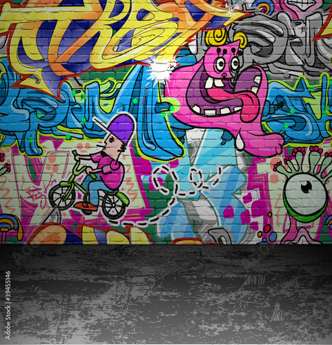 Poster Graffiti Graffiti wall urban street art painting