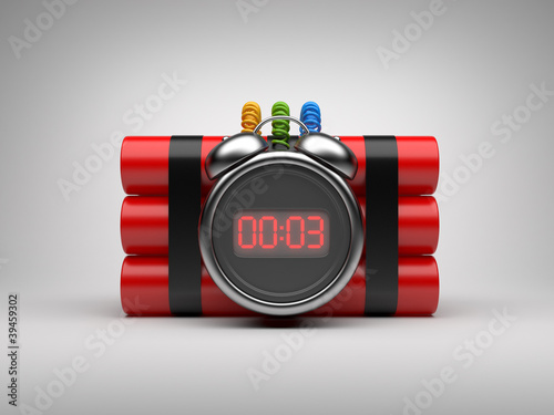 Bomb with clock timer 3D. Countdown. On gray background Poster