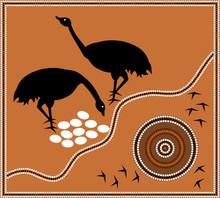 Illustration Based On Aboriginal Style Of Dot Painting: Emu