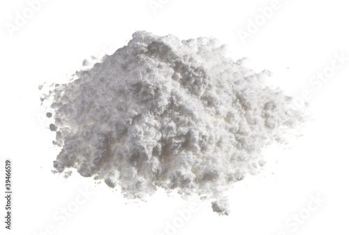 Fotografie, Obraz  Kokain léky haldy na bílém, zblízka pohled