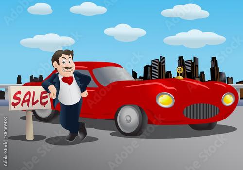 Foto op Canvas Cars Sales man