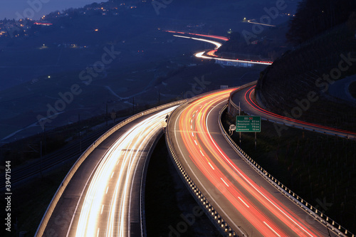 Fotobehang Nacht snelweg Highway in the night, Lavaux, Switzerland