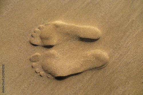 Foto-Kissen - Spuren im Sand (von Pixeltheater)
