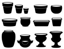 Flowerpots, Pottery. Clay Pots, Planters, Pans, Jar, Vase, Urns