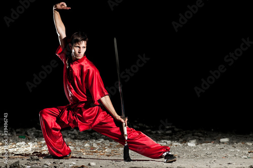 Photo  Wushoo man in red practice martial art