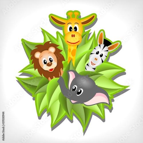 Foto op Aluminium Zoo little cartoon elephant, giraffe, lion and zebra