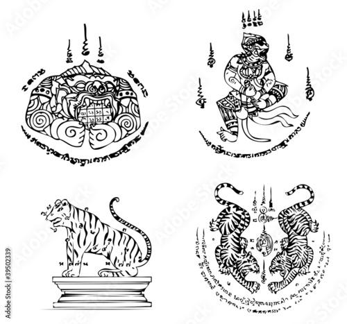 Foto  Thai Tattoo Ancient. Vector template
