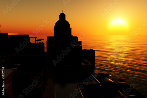 Fotobehang Pier Sunset / sunrise in Greece 3D render 02