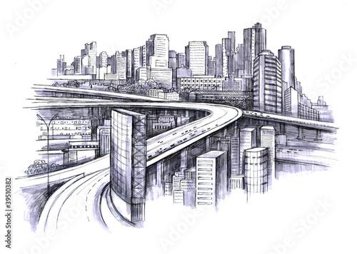 Nowoczesny obraz na płótnie urban city plan view