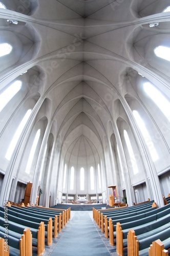 Fotografering  interior of modern Hallgrimskirkja church, Iceland