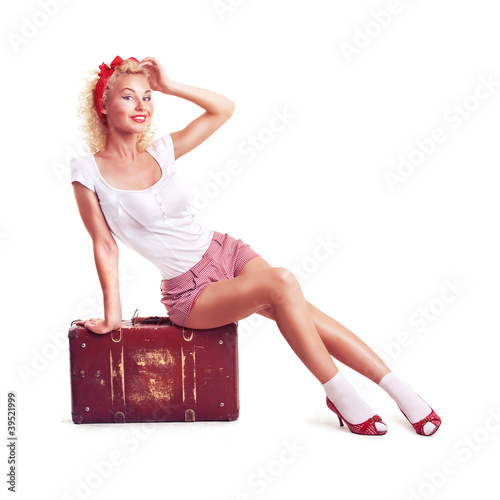 Fototapeta  girl with pretty smile in pinup style