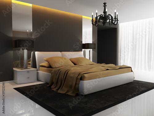 Chic luxury hotel gold, black, bedroom, chandelier ...