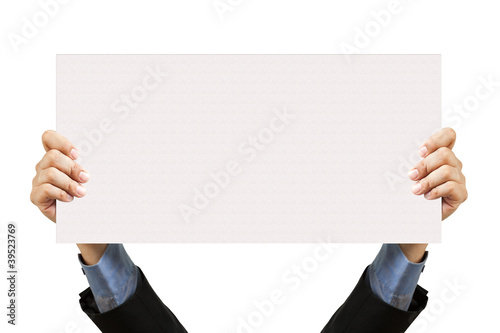 Fotografering  businessman holding blank sign and hand on white