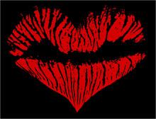 Red On Black Lipstick Heart Shape
