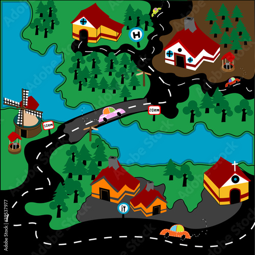 Poster de jardin Route Modern village illustration with automobiles