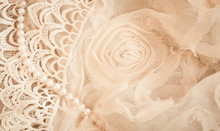Lace, Pearls And Chiffon Vintage Background