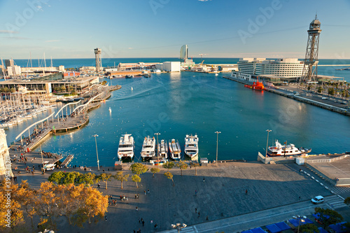 Barcelona port view from the air. Canvas Print