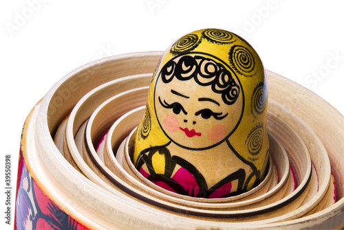 Photo Russian Babushka or Matryoshka Doll inside the other dolls.