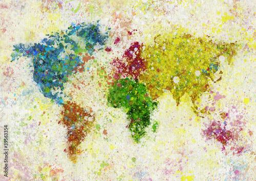 Fototapety, obrazy: world map painting
