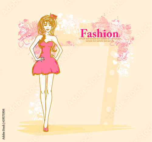 Tuinposter Doodle fashion girl Shopping - doodle background