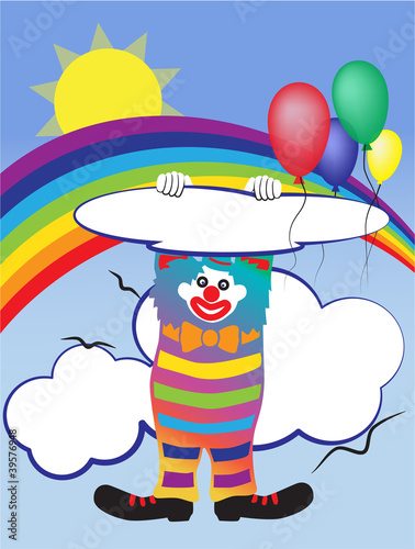 Recess Fitting Rainbow Vector illustration with a clown and baloons