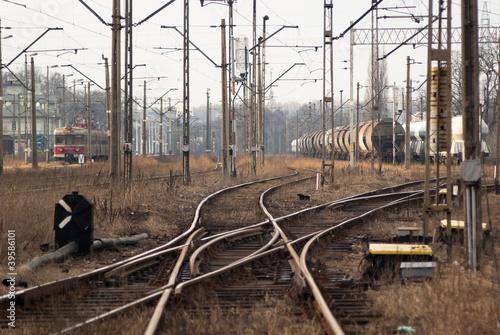 Montage in der Fensternische Eisenbahnschienen railway