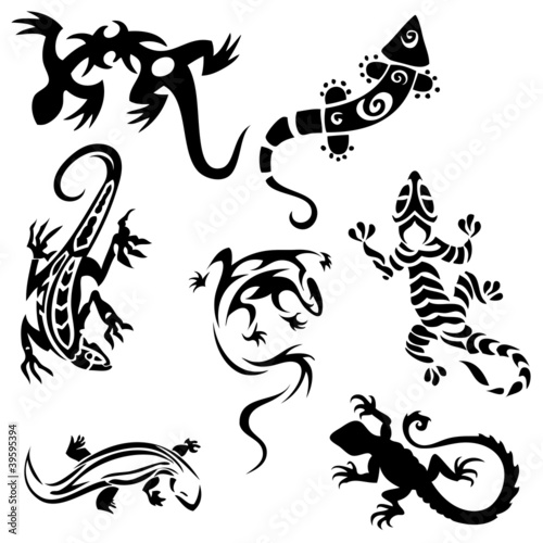 Fotomural Tattoos lizards (collection) seven silhouettes