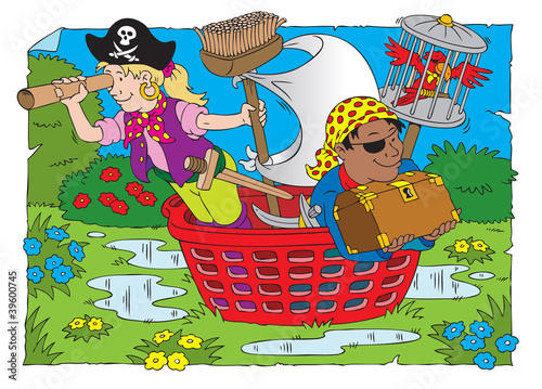 Photo sur Toile Pirates Pirate kids