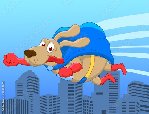 Poster Superheroes Super dog flying over city