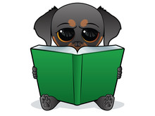 Puppy Character Reading A Big ...