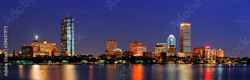 Foto Boston night scene panorama