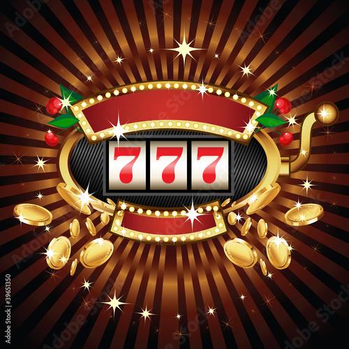 Fotografie, Obraz  Slot machine on shiny background