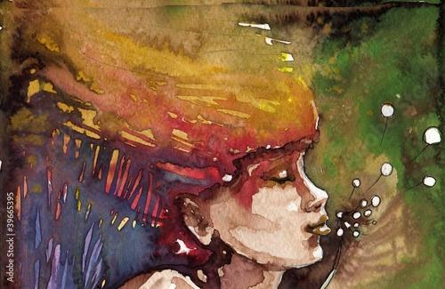 kolorowy portret akwarelowy - 39665395
