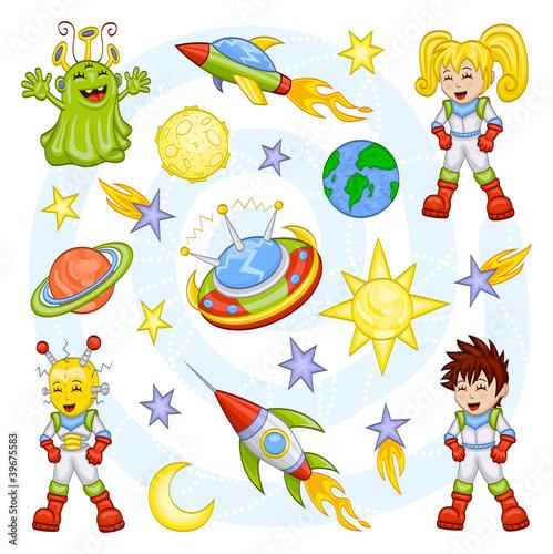Foto op Aluminium Kosmos Cartoon outer space set