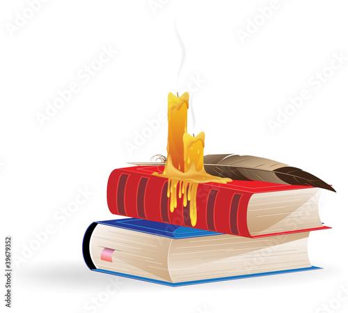 Fototapeta Extinguished candles and books