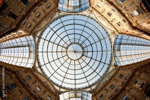 Obraz na płótnie Glass dome of Galleria Vittorio Emanuele II shopping gallery.