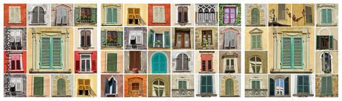 collage with old windows - Buy this stock photo and explore
