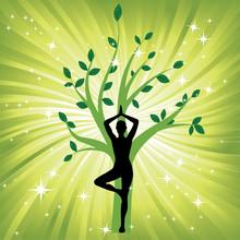 Woman In The Yoga Tree Asana