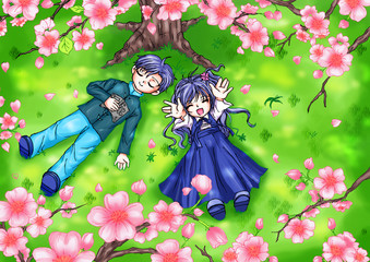 Cartoon illustration of boy and girl lying on grass