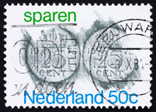 Postage Stamp Netherlands 1975 Rubbings Of 25c Coins