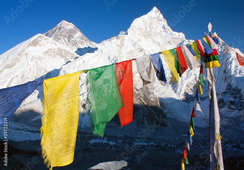 Wall Murals Nepal view of Everest with buddhist prayer flags from kala patthar
