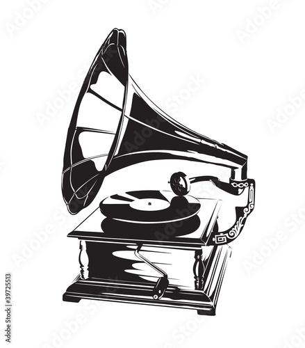 Fotografía Vintage Gramophone Stencil