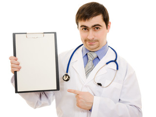 Male doctor with a blank sheet of paper on a white background.