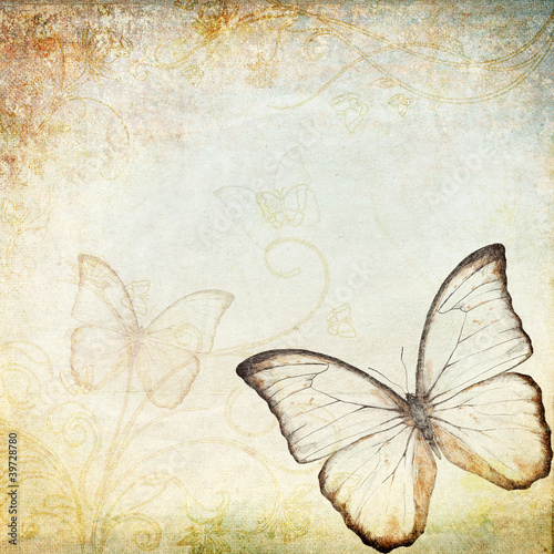 Printed kitchen splashbacks Butterflies in Grunge vintage background