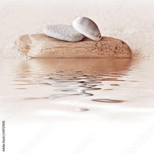 Photo sur Plexiglas Zen pierres a sable Bois flotté, galets, coquillage